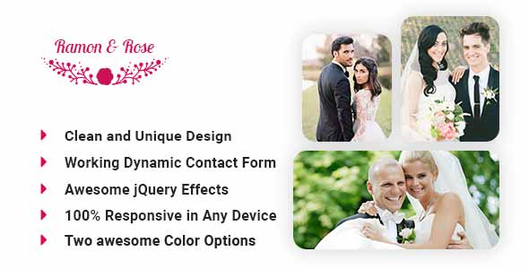 Roman & Rose  Wedding event Awesome HTML5 template